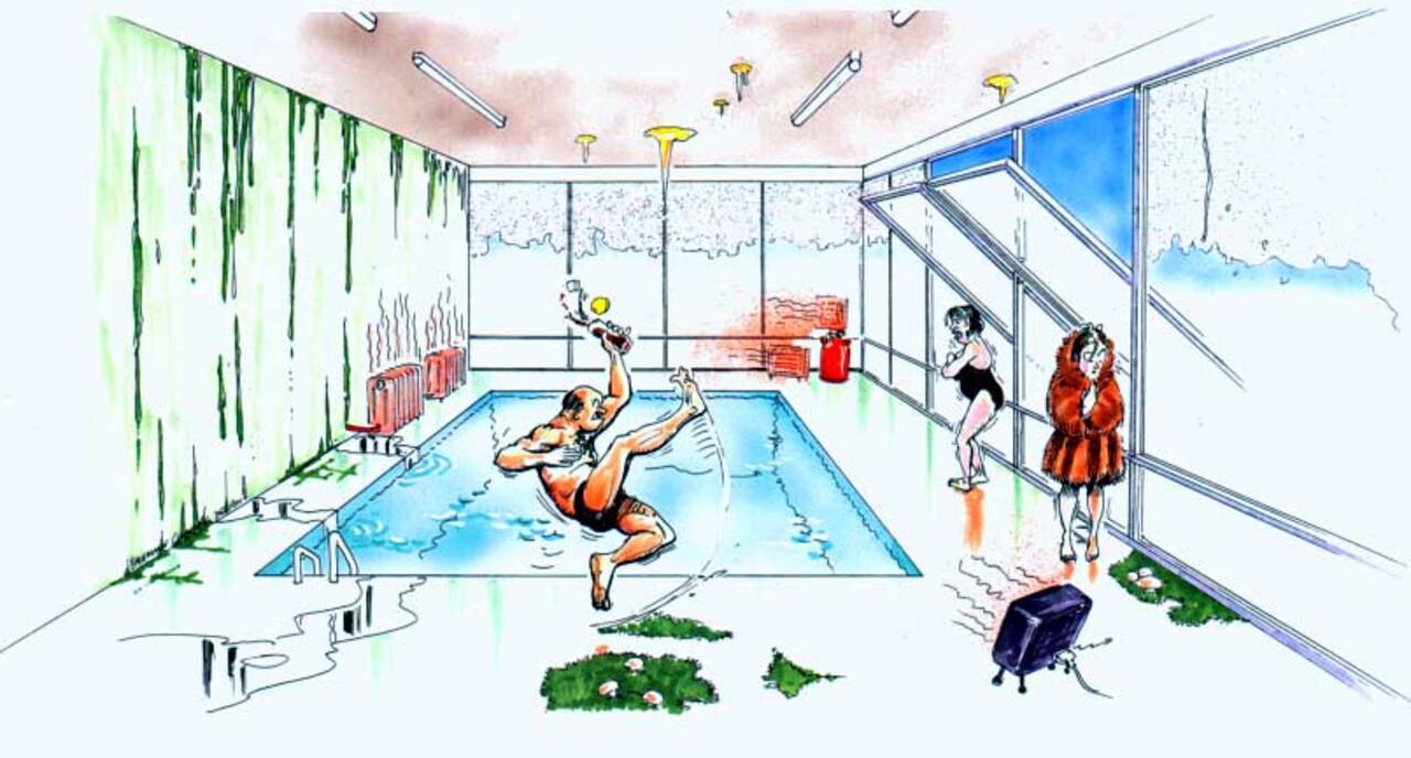 Schwimmhalle ohne Lüftungsanlage